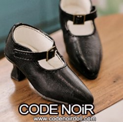 CMS000148 Black Pointy Buckle Shoes