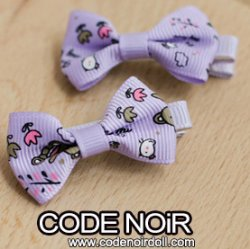 CAC000086 Purple Ribbon Hair Clips (Free Size)