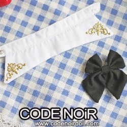 CAC000106 White Detachable Collar & Black Bow For 1/3 Dolls